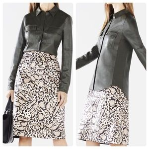 BCBG Maxazria Torey Faux Leather Button Up Top